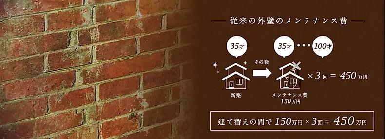 従来の外壁のメンテナンス費 建て替えの間で150万円×3回=450万円