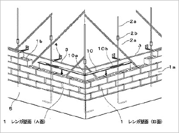レンガ積み建築物のレンガ壁面耐震構造